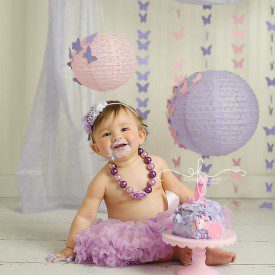 Whimsical Pink & Lavender Butterfly Smash Cake Session | CT Smash Cake Photographer Elizabeth Frederick Photography specializing in Connecticut First Birthday Smash the Cake Photography sessions
