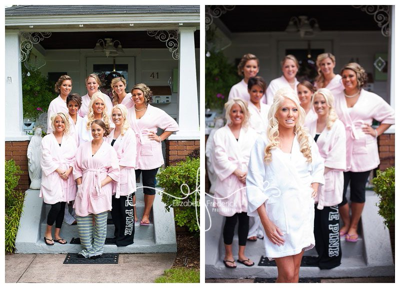 Bridal Party in robes |Waterview Monroe, CT Wedding Photographer | Manchester Wedding Photographer Elizabeth Frederick Photography www.elizabethfrederickphotography.com/weddings