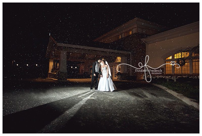 Snowy New Years Eve Wedding black and gold themed The Riverview Simbsbury CT Wedding Photographer Elizabeth Frederick Photography www.elizabethfrederickphotography.com/weddings