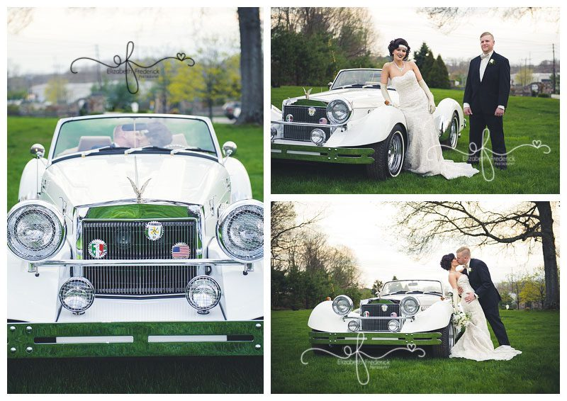 Great Gatsby Roaring 20's themed wedding   Woodwinds North Branford Wedding Photography   Bride and groom posed with car   CT Wedding Photographer Elizabeth Frederick Photography www.elizabethfrederickphotography.com/weddings