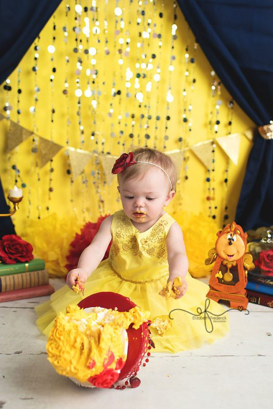 Beauty & the Beast Smash Cake Photography Session | First Birthday | Farmington, CT Smash Cake Photographer