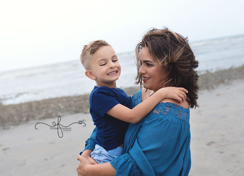 mother and son pose | Beach Family Sessison | Milford CT Family Session