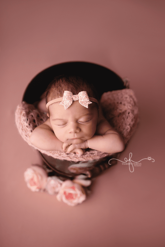 Baby in a bucket, Connecticut newborn photography