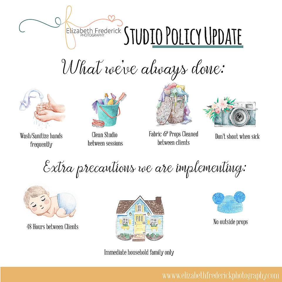 Studio newborn photography session policy changes for covid-19 coronavirus lockdown quarantine | Elizabeth Frederick Photography