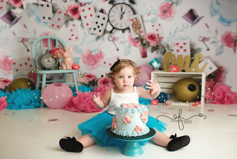 First Birthday Photography Session Alice in Wonderland Elizabeth Frederick Photography