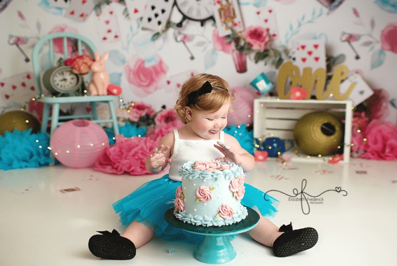 First Birthday Photographer Elizabeth Frederick Photography Alice in Wonderland session