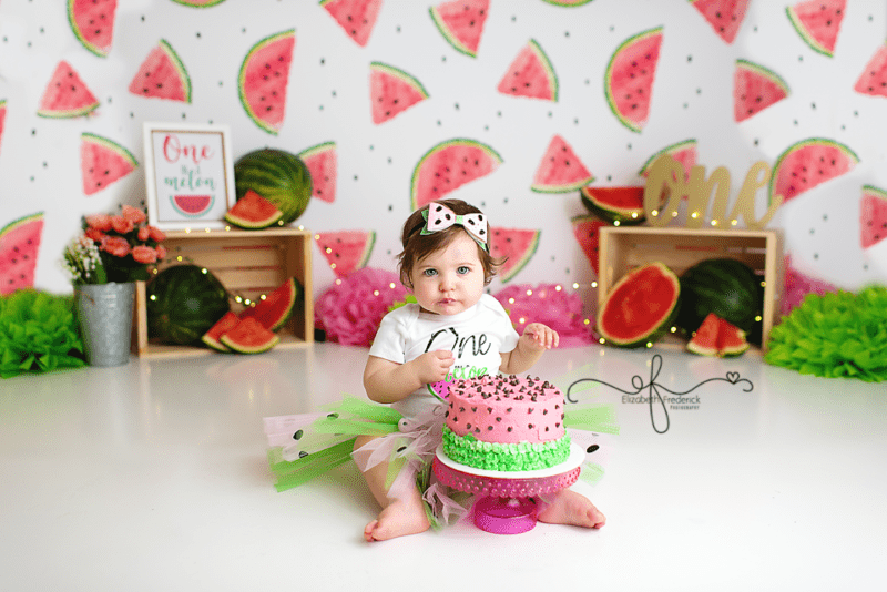 One in a Melon Watermelon Themed Smash Cake Photography session with CT Smash Cake Photographer Elizabeth Frederick Photography