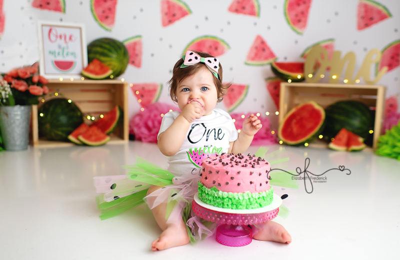 One in A Melon Smash Cake Photography Session | Watermelon Themed First Birthday Party Ideas | CT Smash Cake Photographer | CT First Birthday Photographer | CT Baby Photographer Elizabeth Frederick Photography
