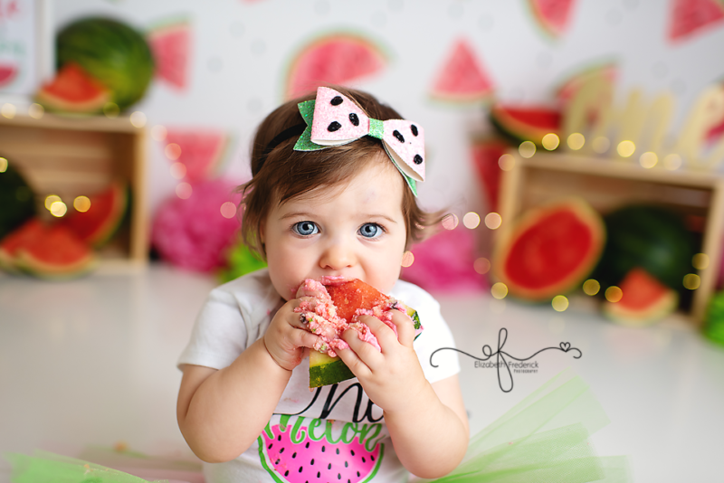 One in a Melon Smash cake Session | Watermelon First Birthday Themed Photoshoot | One in a Melon First Birthday Party idea | CT Smash Cake Photographer, CT baby Photographer, CT First Birthday Photographer Elizabeth Frederick Photography