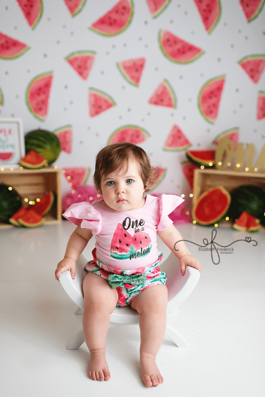 One in a melon smash cake photography session | Watermelon first birthday party | CT First Birthday Photographer Elizabeth Frederick Photography