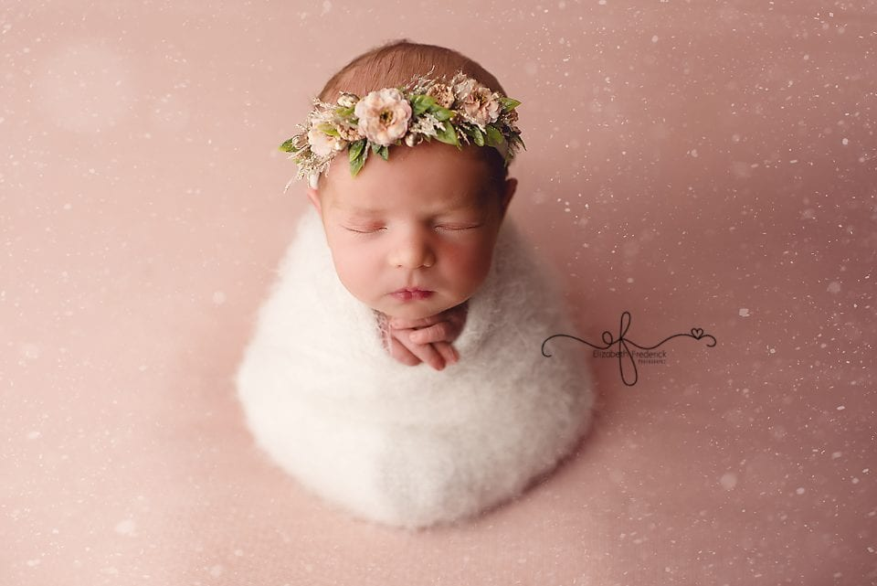Snow Winter Baby Photography Wrapped newborn pose idea | CT Newbor Photographer Elizabeth Frederick Photography